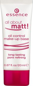 all about matt! oil control make-up base - essence cosmetics il control make-up base long-lasting pore refining lightweight make-up base for a long-lasting matt and smooth finish. specially formulated with evermat™ complex. this base helps to balance out oily skin and to minimize the appearance of pores. use alone or under make-up. improves make-up wear. apply thin on oily face areas. dermatologically tested.