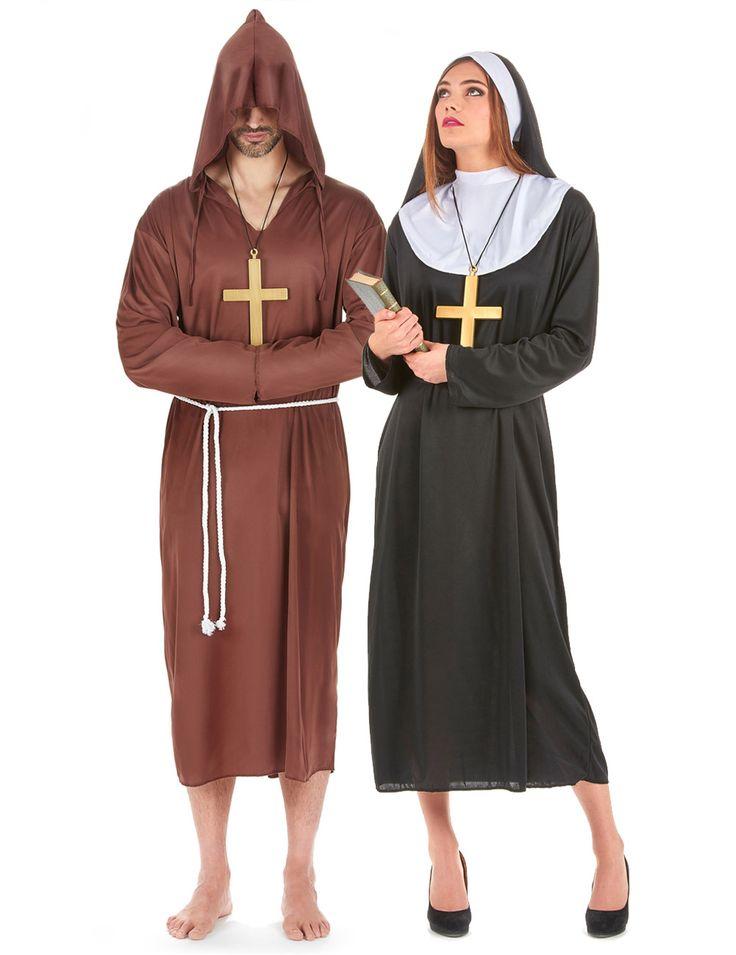 Disfraz de pareja de monje y monja: Disfraz para el hombre: Este disfraz de monje para hombre se compone de un hábito con capuchón de color marrón, amplio y ligero, y una cuerda que hace las veces de...