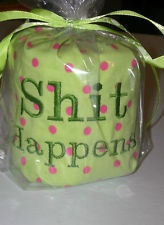 Gag Gift Birthday Over Hill Toilet Paper Roll S H I T Happens Pink Green Dots