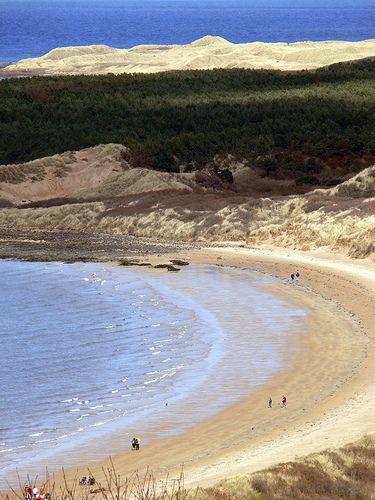 Gullane Beach, south shore of the Firth of Forth in East Lothian, Gullane, Scotland.