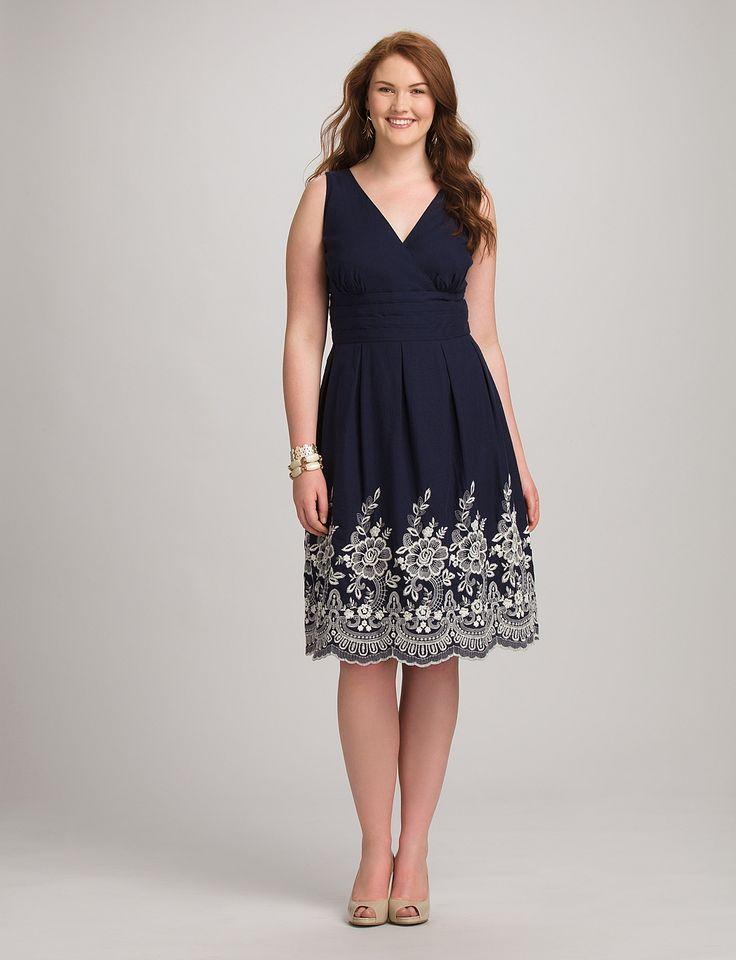 Plus Size   Dresses   Plus Size Embroidered Surplice Dress