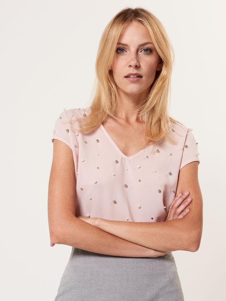 Elegancka bluzka ze sztucznymi perłami, Nowości - Zapowiedź Jesieni, rÓŻowy, MOHITO
