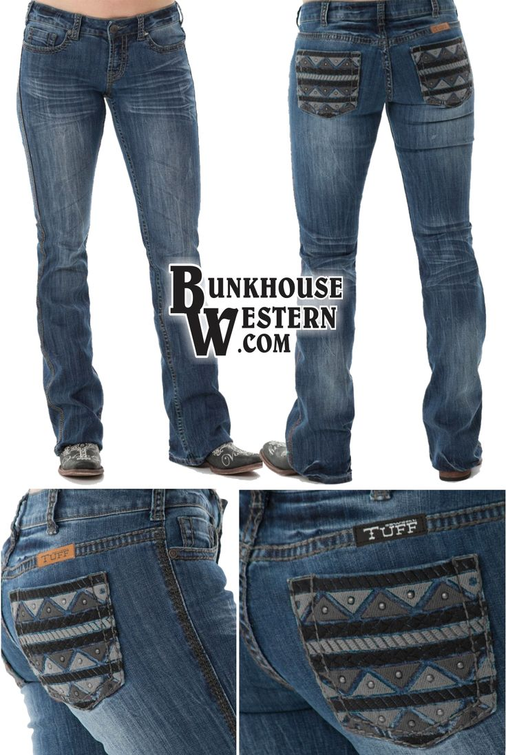Cowgirl Tuff Company, Slate Jeans, Black & Gray Stitching, Aztec Design on Back Pockets, $99.99 with FREE United States shipping