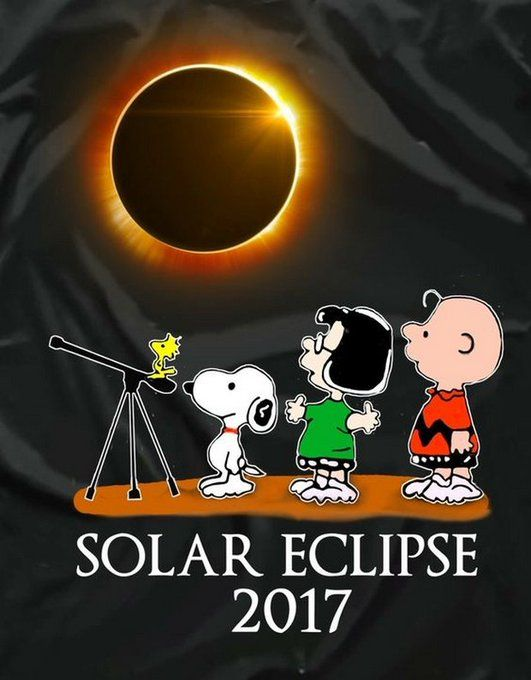 Woodstock, Snoopy, Marcie, and Charlie Brown. Solar Eclipse 2017.