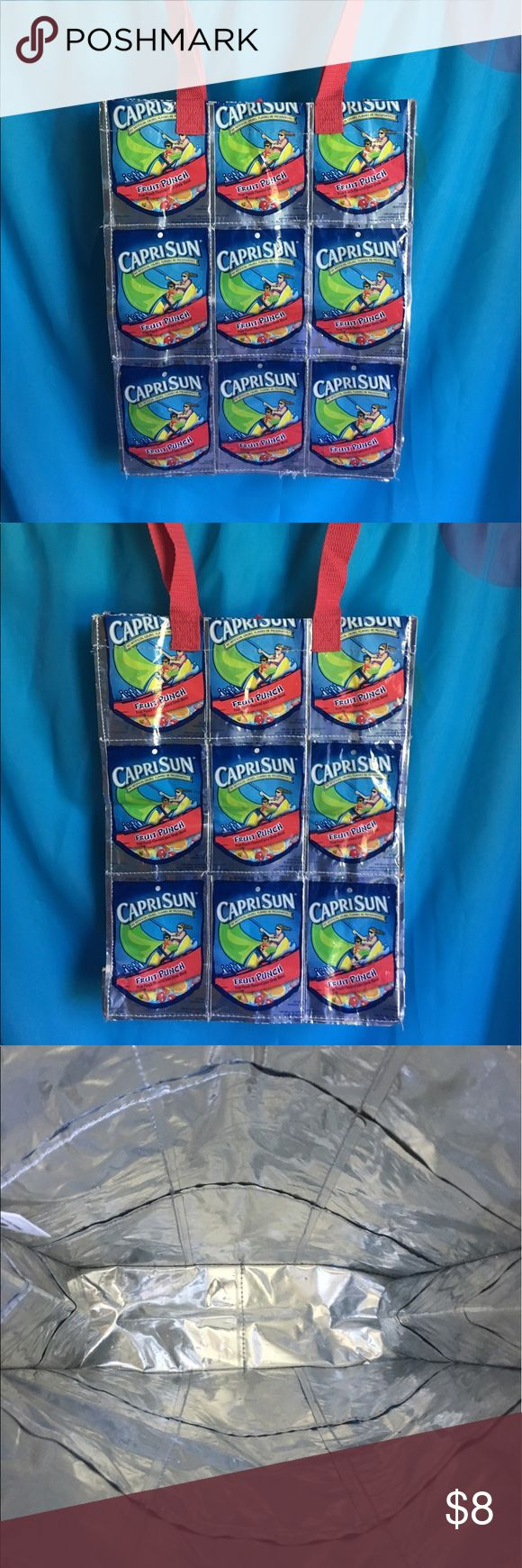 Capri Sun shoulder bag Capri Sun shoulder bag! Cute fun shoulder bag made out of Capri Sun pouches. In great condition. Bags Shoulder Bags