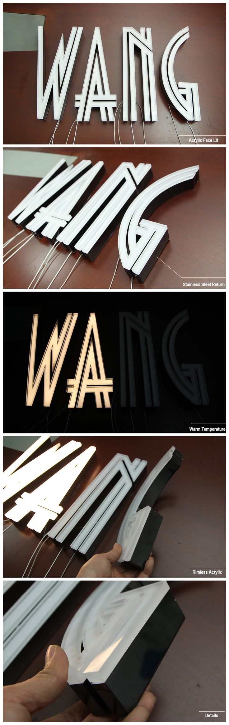 Rimless Acrylic Face Lit Channel Letters Stainless Steel Return for Shop Sign Front with CE UL LED