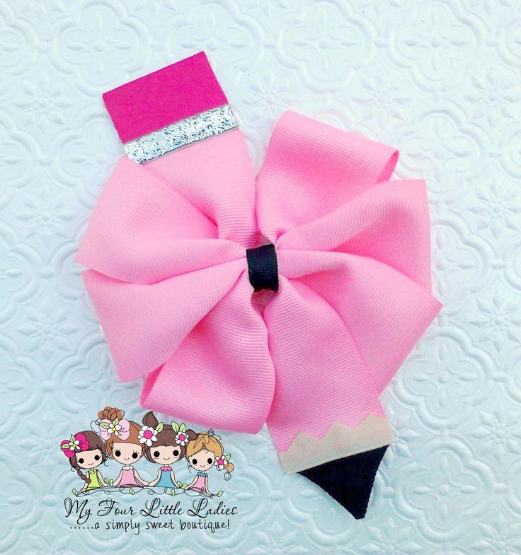 Pink Pinwheel Pencil Bow by: www.facebook.com/my4littleladies