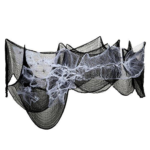 Pack of 2 Stretchable Spider Cob Web Halloween Decoration with 6 Large Spiders