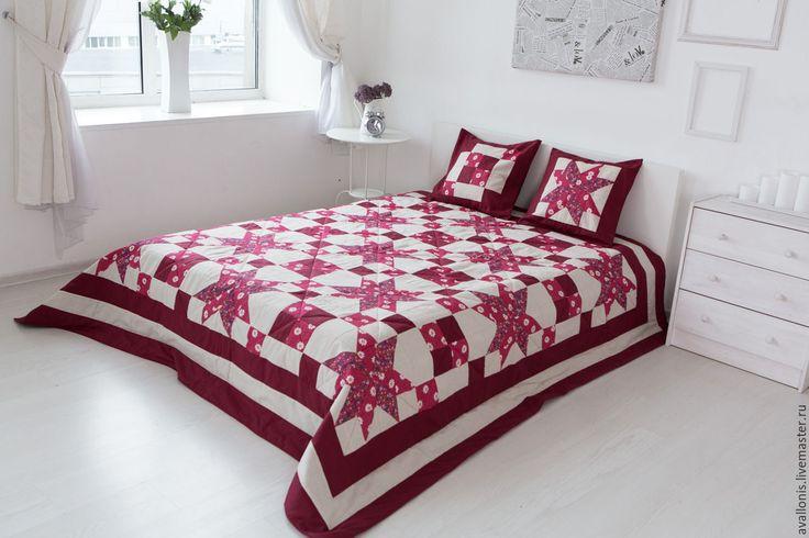 """Купить Лоскутное покрывало """"Звёзды бордовые"""" - бордовый, лоскутная подушка, лоскутный плед, лоскутное одеяло"""