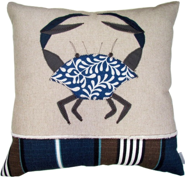 love this: Stripes Admirer, Crabs Sconces, Atlas Stripes, Linens Pillows, Navy Linens, Applique Pillows, Crabs 20, Crabs Pillows, Appliques Crabs