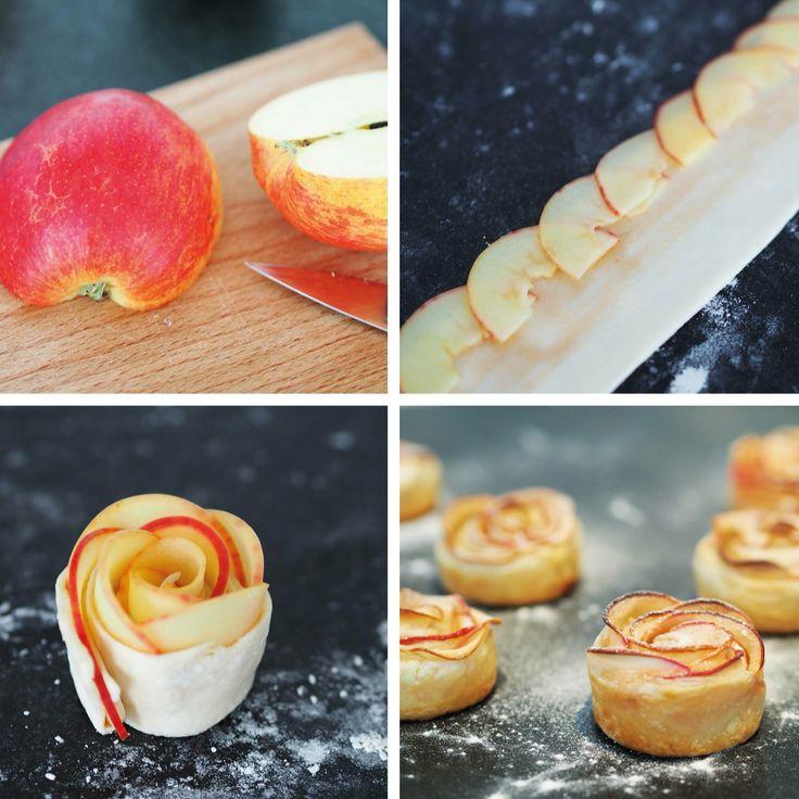 Bloomon DIY: appelroosjes!  1. Snijd een rode appel in dunne plakjes, giet er heet water en citroensap overheen om ze zacht te maken.  2. Snijd het bladerdeeg in dunne reepjes van 5 cm en bestrijk dit met jam.  3. 'Plak' de appel voor de helft over het deeg, zodat het onderste deel van het deeg vrij blijft. 4. Klap de onderste deeghelft omhoog en rol alles op tot een roosje. Bak de roosjes 40 minuten op 180°C.
