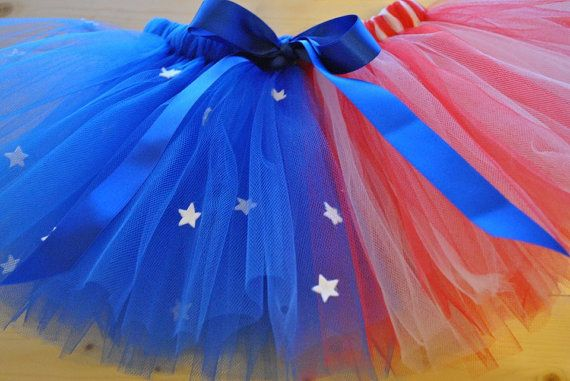4th July American Flag Tutu with Satin Bow  by BeautifulGreys, £17.00