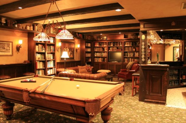 English Style Pub Basement. Love the pool table with the cream felt instead of the traditional green. Love this basement!