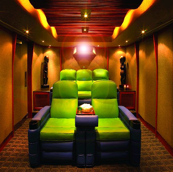 Small home theater room ideas green and purple crazy for Small room movie theater