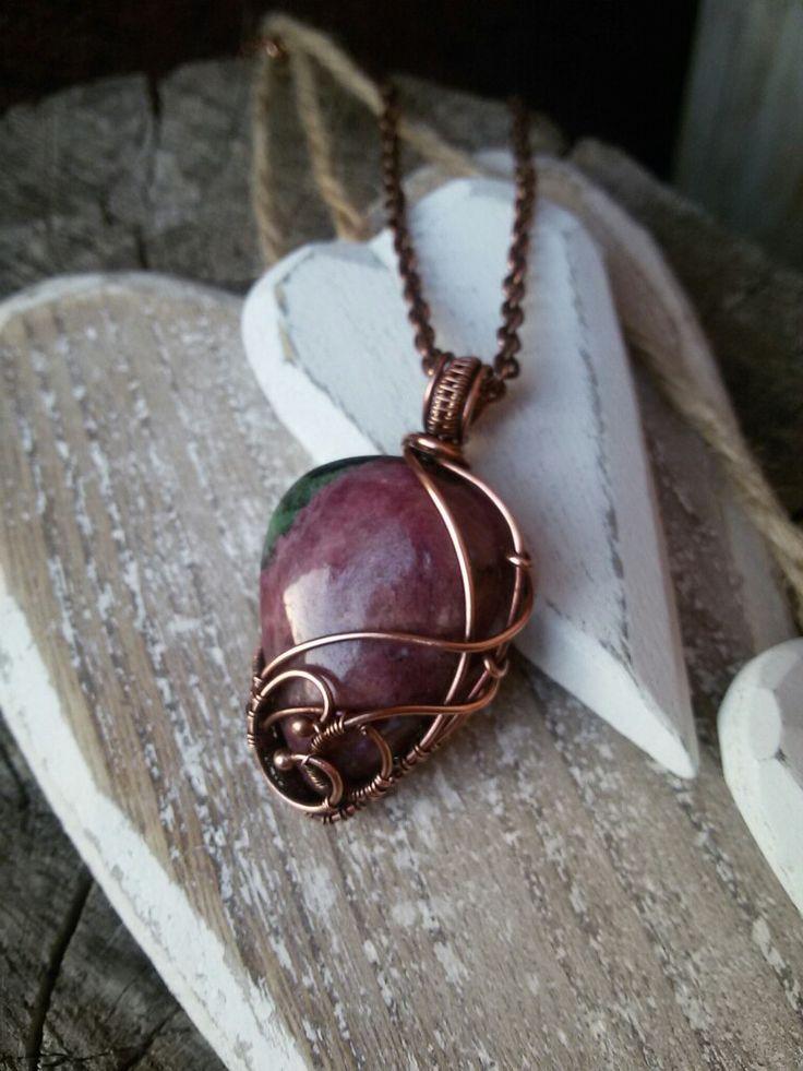 Ruby-zoisite copper jewel