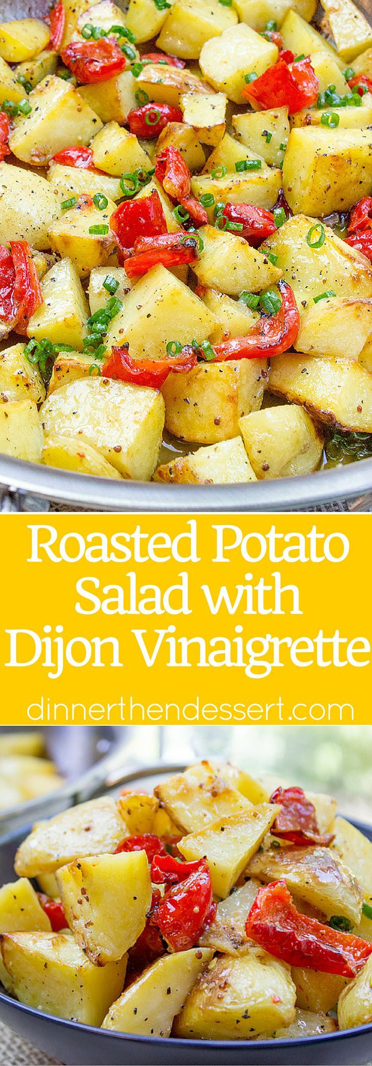 Roasted Potato Salad with Dijon Vinaigrette is the perfect summery side dish to you BBQ menu with just five ingredients!