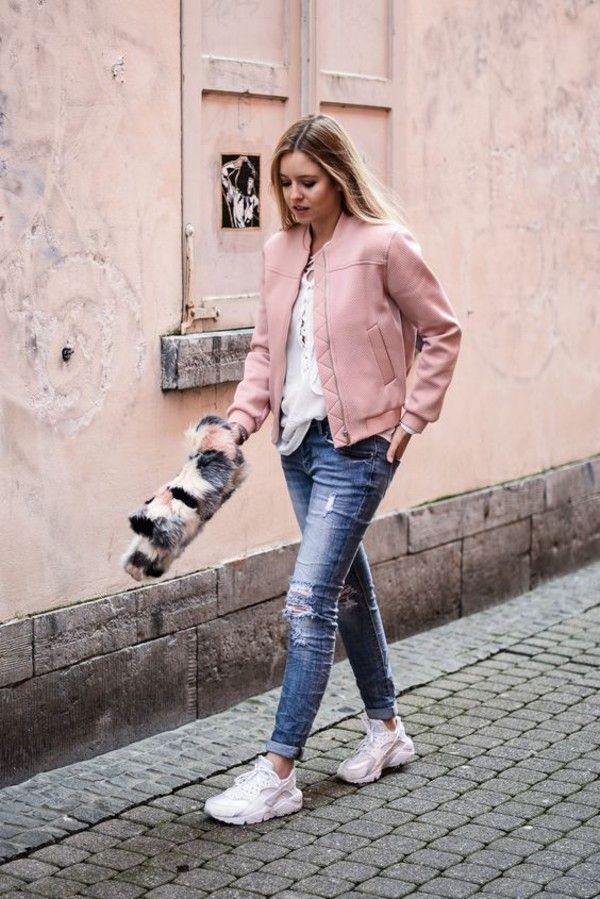 Jacket: nike huarache nike air force pink bomber blue jeans denim casual outfit street style pastel