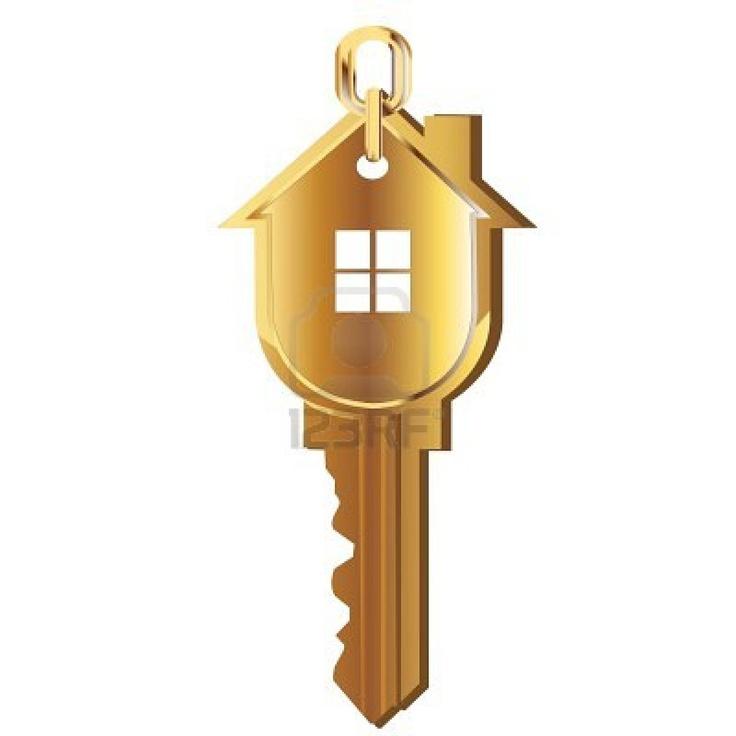 Hausschlüssel Gold Immobilien Logo Stockfoto