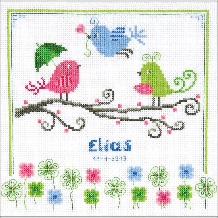 "Colourful Birds Birth Record On Aida Counted Cross Stitch Ki-8.75""X8.75"" 14 Count"