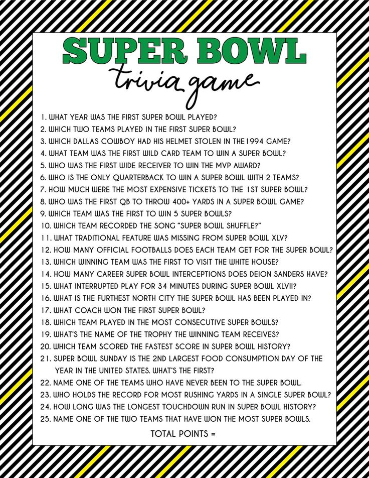Super Bowl Trivia Game & Free Printable Question Cards