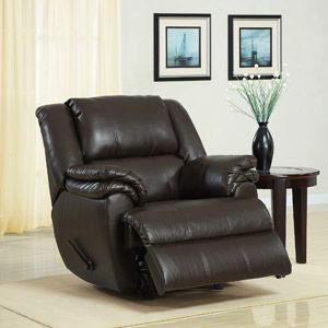 Ashford Padded Rocker Recliner, Dark Brown Faux Leather---wish I could get him one for Christmas...