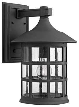 Arts and Crafts - Mission Hinkley Freeport Black 15 1/4 High Outdoor Wall - traditional - outdoor lighting - Lamps Plus