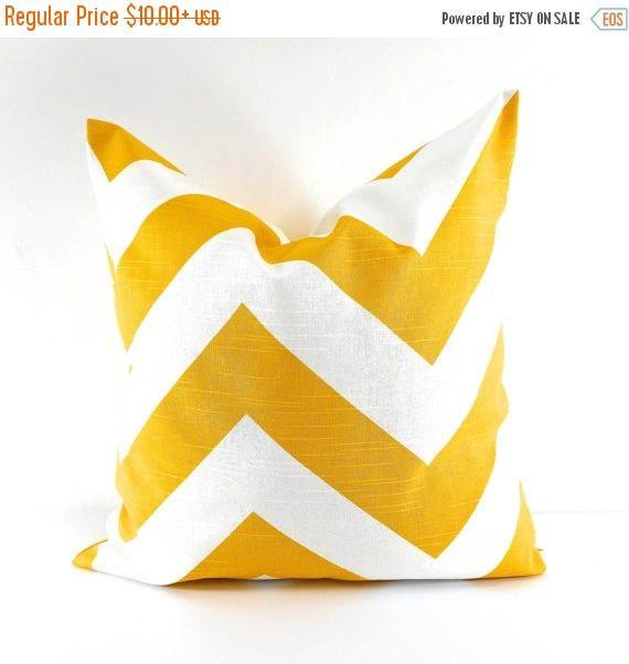 SALE YELLOW PILLOW cover. Zippy cushion cover. Chevron. Corn