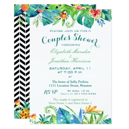Tropical Watercolor Floral Couples Shower Card - wedding invitations diy cyo special idea personalize card