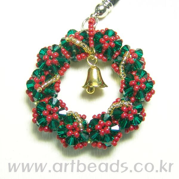 Beaded Christmas wreath PATTERN  artbeads
