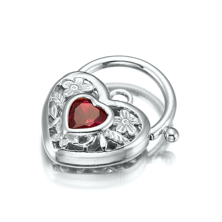 White Gold Layered Filigree Heart Locket with a Ruby Coloured CZ Stone | Allure Gold