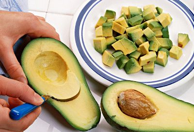 "Substitute Avocado for butter in cookies - ""This may sound a little adventurous, but you won't taste the difference: Switch out half of the butter in a cookie recipe for mashed avocado. This simple change will reduce fat content by 40% and cut the number of calories by nearly as much. You'll still get the creaminess of butter and the fatty taste, but this substitution knocks out some of the saturated fat in favor of the belly-flattening monounsaturated kind.""   I'll have to try this"