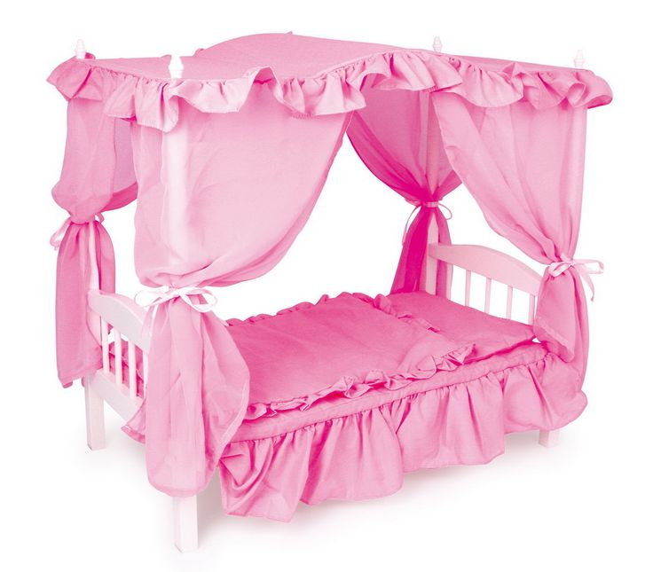 Dřevěný nábytek pro panenky | Dřevěná postel pro panenky s nebesy | Dřevěné domečky pro panenky, dřevěné hračky, dětské dřevěné kuchyňky, dřevěné vláčkodráhy, dřevěné dětské nářadí a vše, co ke hraní patří