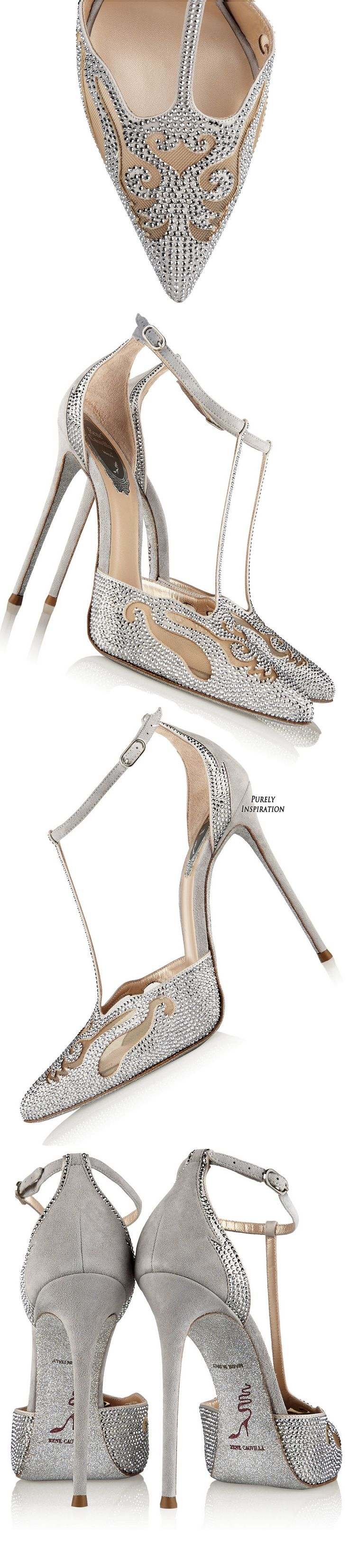 René Caovilla – Embellished suede and mesh pumps – Fashion ~ Women's Shoes