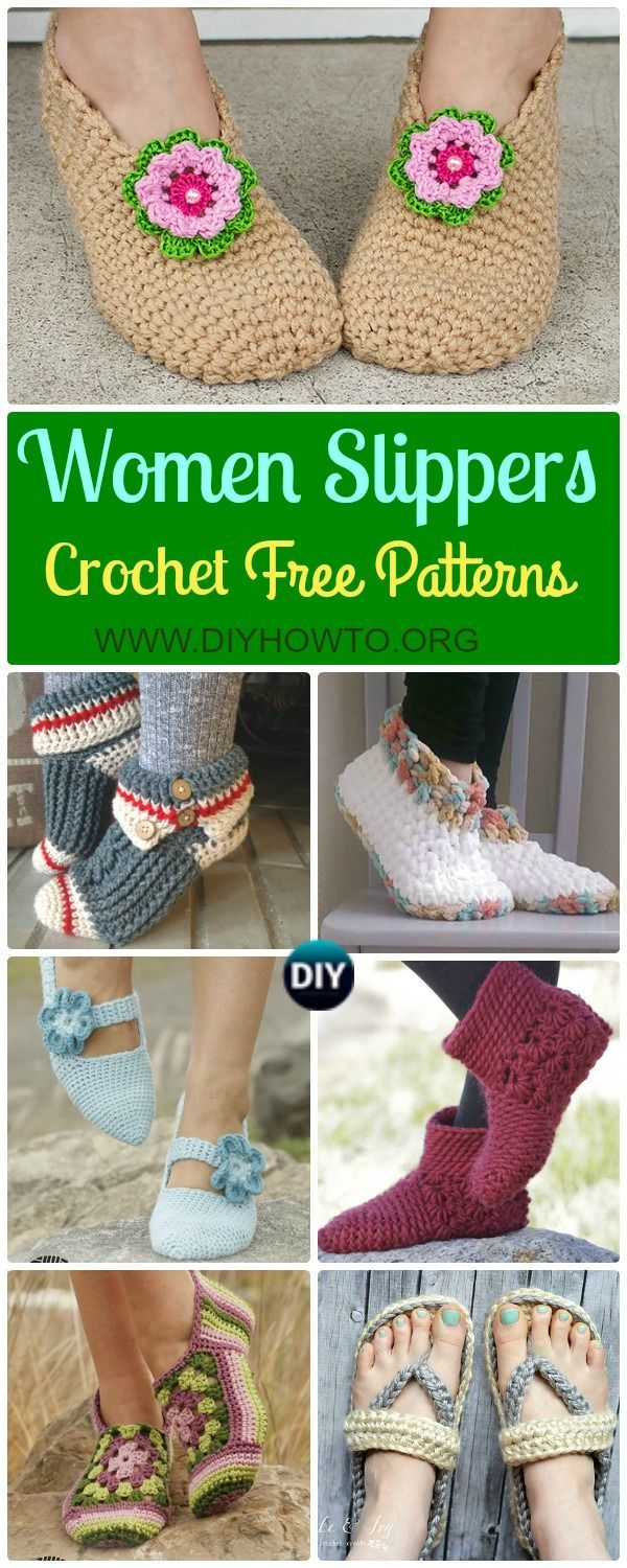 A Collection of Crochet Women Slippers Free Patterns, crochet solely with yarn or crochet with flip flop soles in different stitches. via /diyhowto/