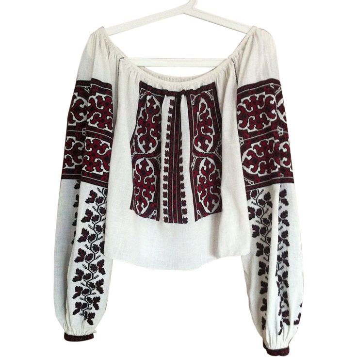 Gorgeous Antique hand embroidered folk peasant traditional Romanian top blouse