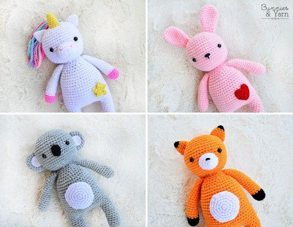 FOUR CROCHET PATTERNS - Unicorn, Rabbit, Fox and Koala - Sweet Dreams Collection - 10 in./26 cm. Amigurumi Crochet Toy -Instant Pdf Download