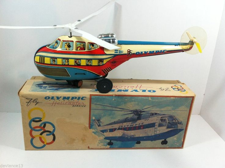 RARE 60's GREEK LYRA TIN LITHO BATTOP OLYMPIC AIRWAYS HELICOPTER MIB