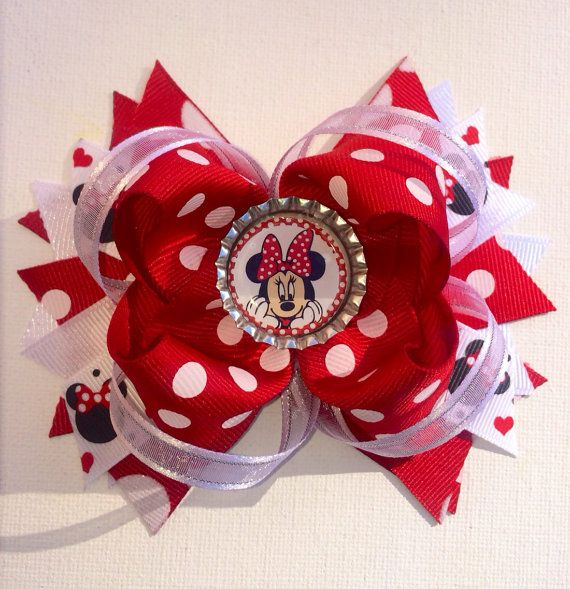 Red and White Polka Dot Minnie Mouse Bow
