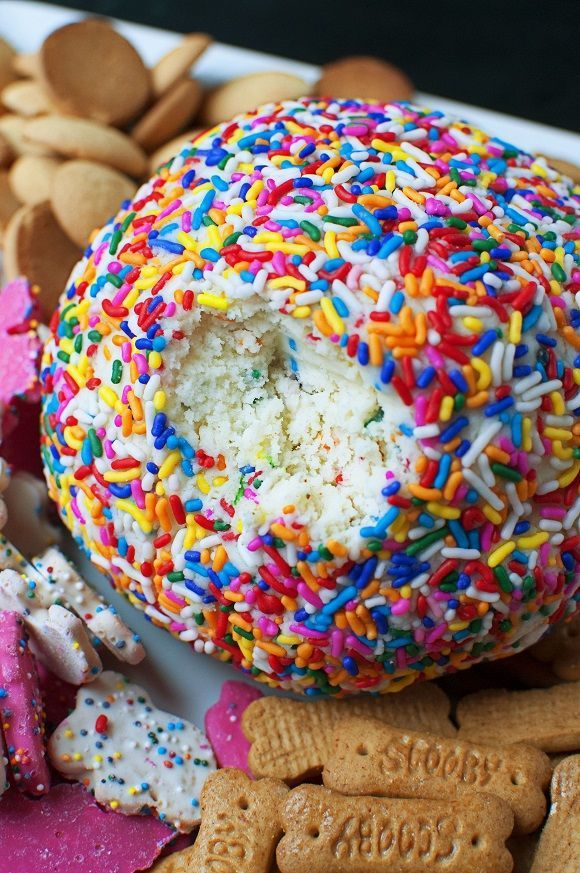 Cake Batter Cheesecake Cheeseball. Yummy appetizer for birthdays or parties.