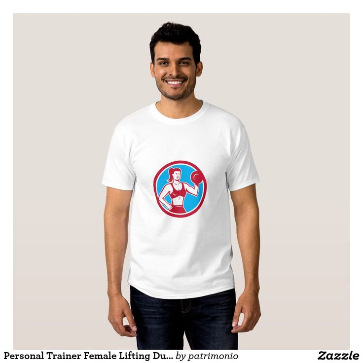 2016 Rio Summer Olympics men's t-shirt showing an illustration of a female fitness professional bodybuilder lifting a dumbbell flexing muscles viewed from front set inside a circle done in retro style. #weightlifting #olympics #sports #summergames #rio2016 #olympics2016