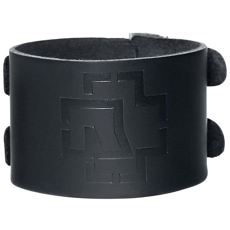"""Bracciale di pelle nero """"Logo"""" dei #Rammstein con doppia fibbia di chiusura e logo della band impresso. Dimensioni: 25,5 x 4,5 cm."""