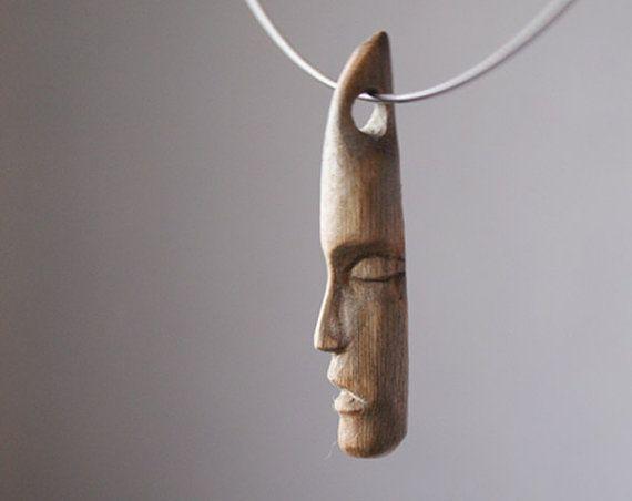 VENDITA faccia n. 4  miniatura scultura in legno gioielli