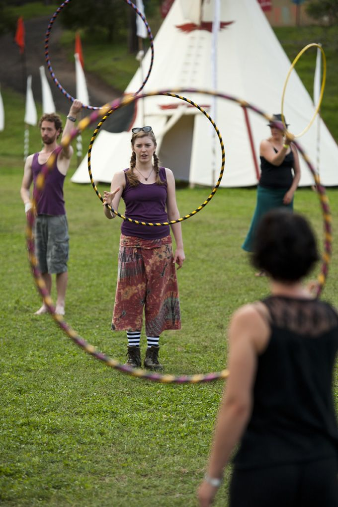 Little Miss Circus Teaching Hula Hoops Workshops @ Peats Ridge Festival 2011/12