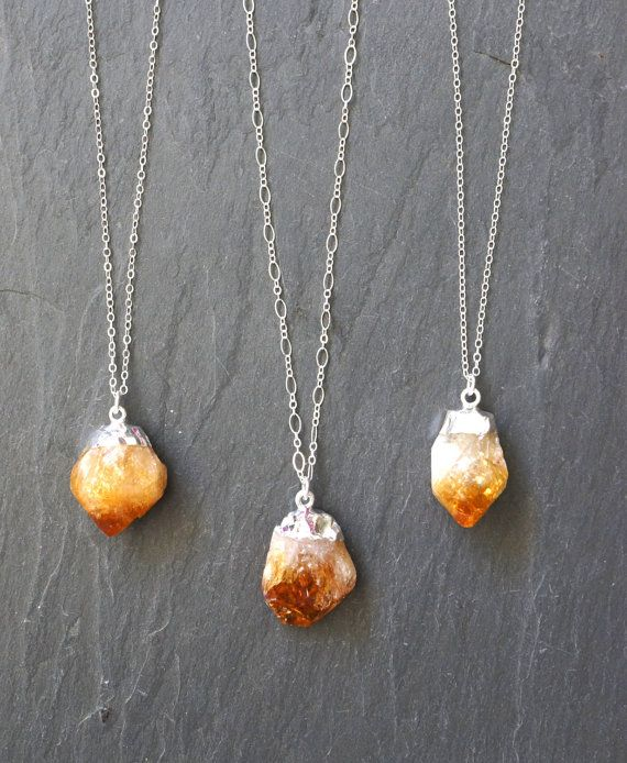 Raw Citrine crystal plated in Silver on a custom length Sterling Silver chain. Select from either a link or cable chain. Citrine is known as the stone of abundance, manifesting wealth and strengthening success.