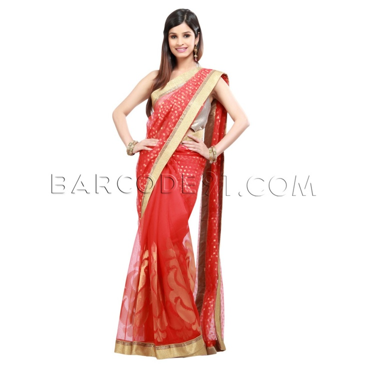 $252 Red jute silk saree is finished with antique border.It comes with gold blouse piece.Slight variation is possible in color