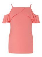 Womens **Maternity Coral Ruffle Tie Cold Shoulder Top- Coral