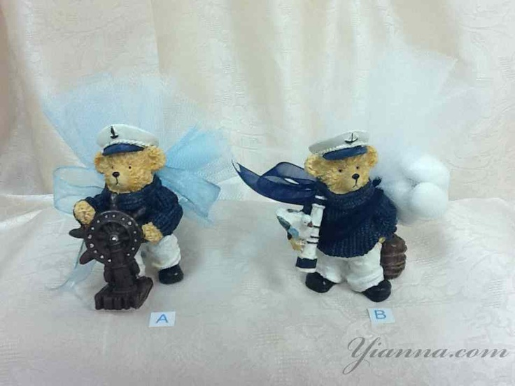 "Nautical bear favor PK288 $3.50 Hand painted polyresin nautical bears are 31/4""x21/4"" and they come assorted with 5 koufeta ( almonds ) Choice of Wrapping A: white and light blue 9"" tulle circles with light blue ribbon. Wrapping B: white 9"" tulle circles with navy blue ribbon"
