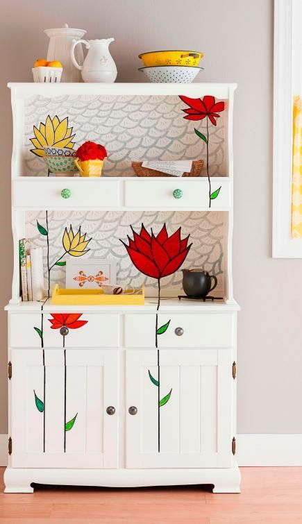 24 Easy DIY Furniture Makeovers | Midwest Living - This white flower painted chest is beautiful. I WANT IT, LOL.: