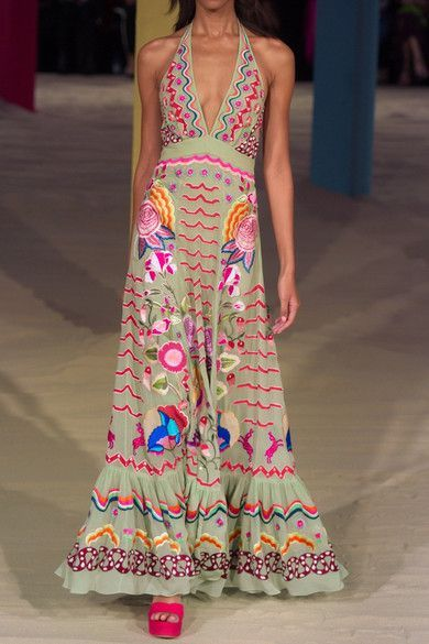 Temperley London - Chimera Embroidered Silk-chiffon Maxi Dress - Mint - UK16