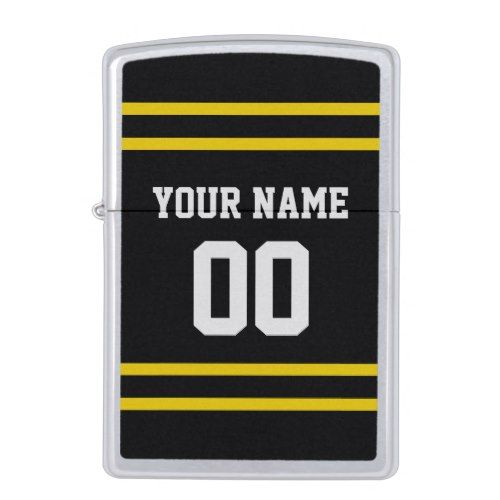 Black Gold Football Jersey Name Number Personalize Zippo Lighter